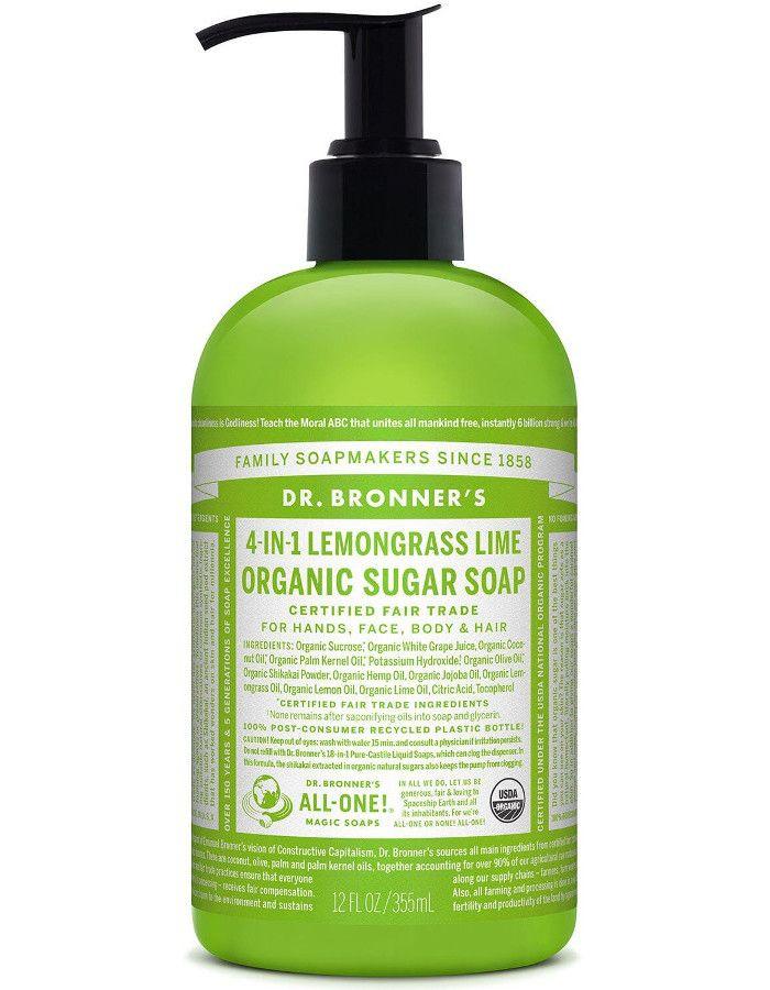 Dr Bronners 4 in 1 Organic Sugar Soap Lemongrass Lime 355ml