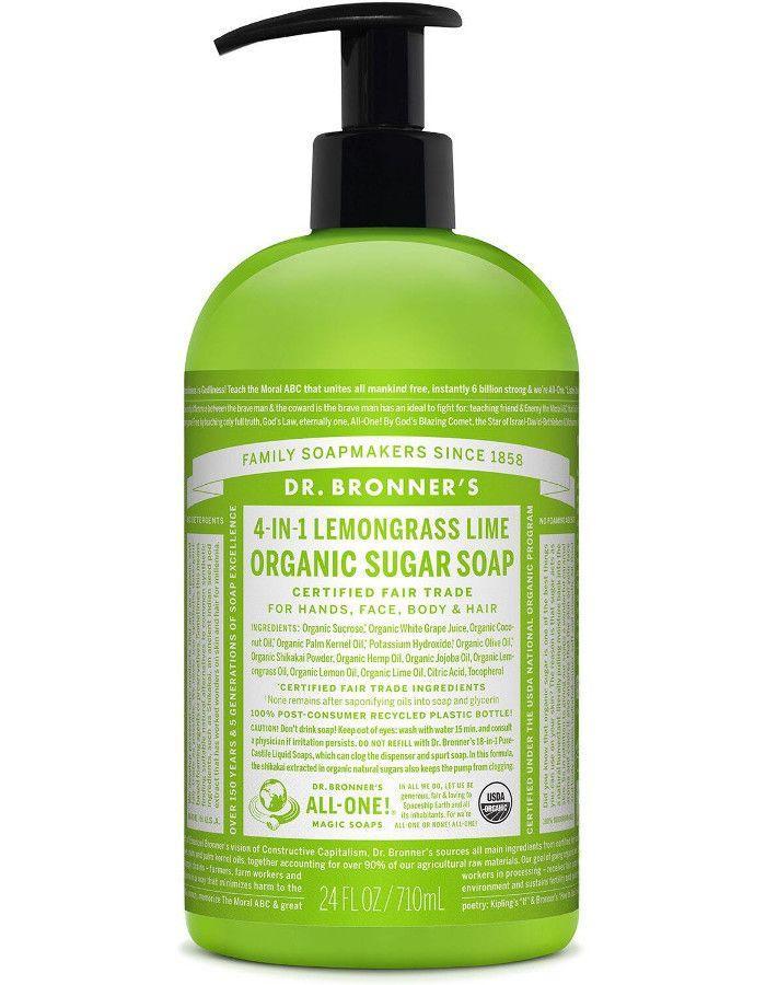 Dr Bronners 4 in 1 Organic Sugar Soap Lemongrass Lime 710ml