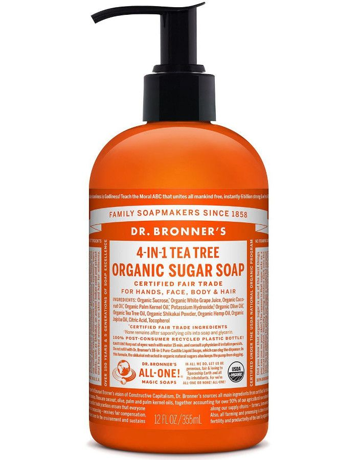 Dr Bronners 4 in 1 Organic Sugar Soap Tea Tree 355ml