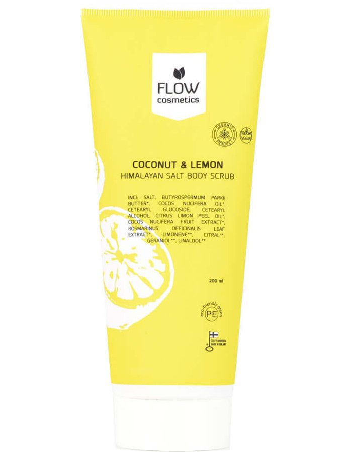 Flow Cosmetics Himalayaanse Zoute Body Scrub Kokosnoot & Citroen 200ml