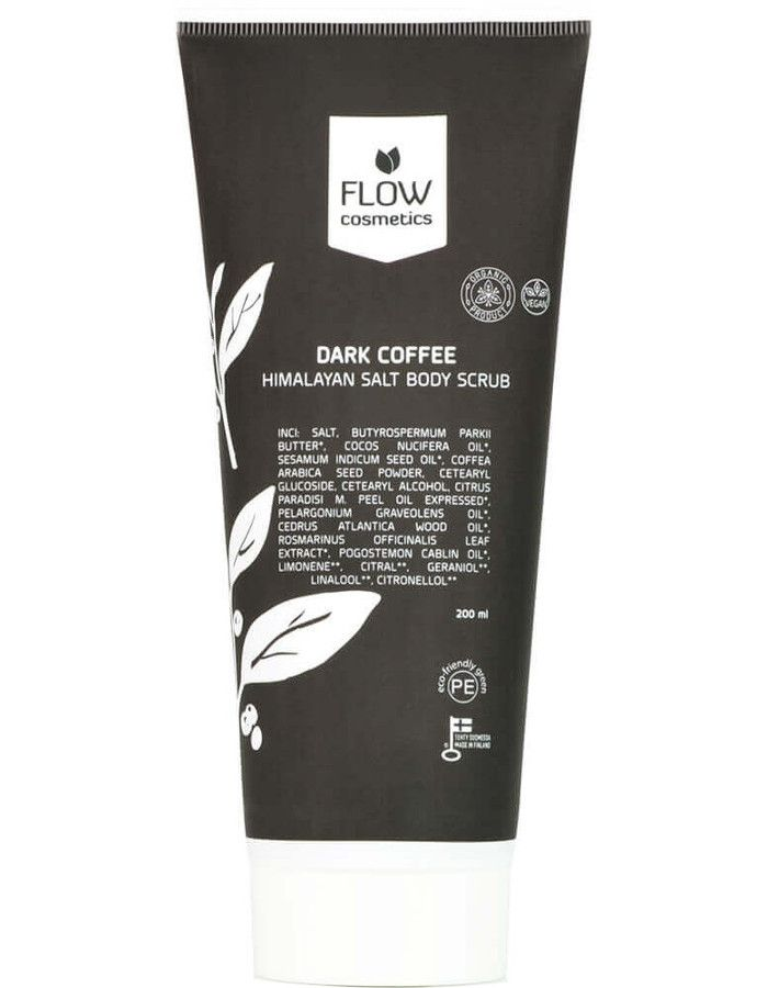 Flow Cosmetics Himalayaanse Zoute Body Scrub Dark Coffee 200ml