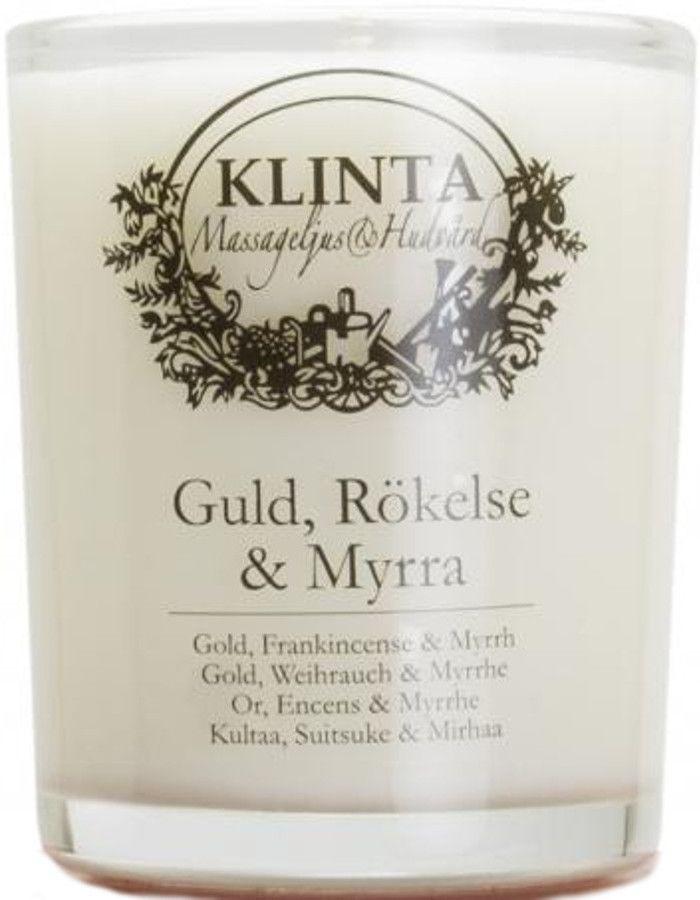 Klinta 100% Natuurlijke Massagekaars 18 Branduren Gold, Frankincense & Myrrh