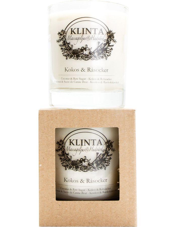 Klinta 100% Natuurlijke Massagekaars 45 Branduren Coconut & Raw Sugar