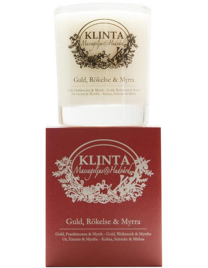 Klinta 100% Natuurlijke Massagekaars 45 Branduren Gold, Frankincense & Myrrh