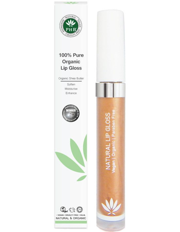 PHB Ethical Beauty 100% Pure Organic Lipgloss Amber