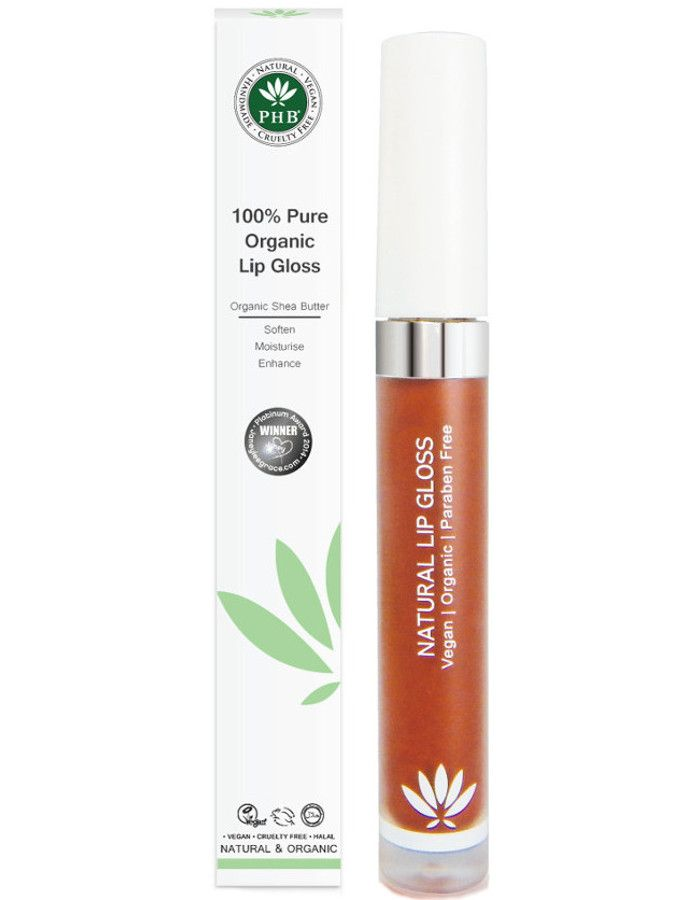 PHB Ethical Beauty 100% Pure Organic Lipgloss Sienna