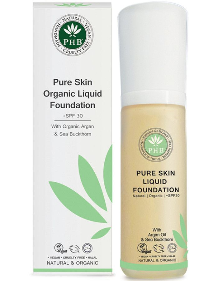 PHB Ethical Beauty Pure Skin Liquid Organic Foundation Spf30 Fair Beige