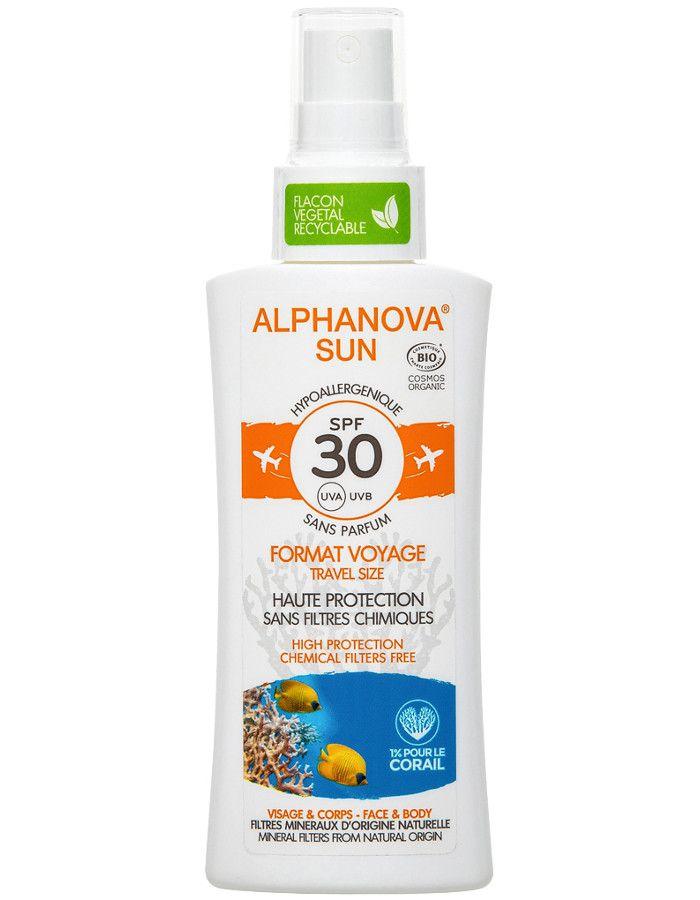 Alphanova Sun Hypoallergene Zonnebrand Spray Spf30 Travelsize 90ml