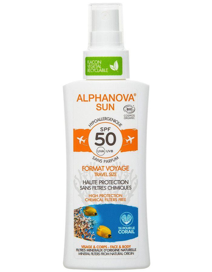 Alphanova Sun Hypoallergene Zonnebrand Spray Spf50 Travelsize 90ml