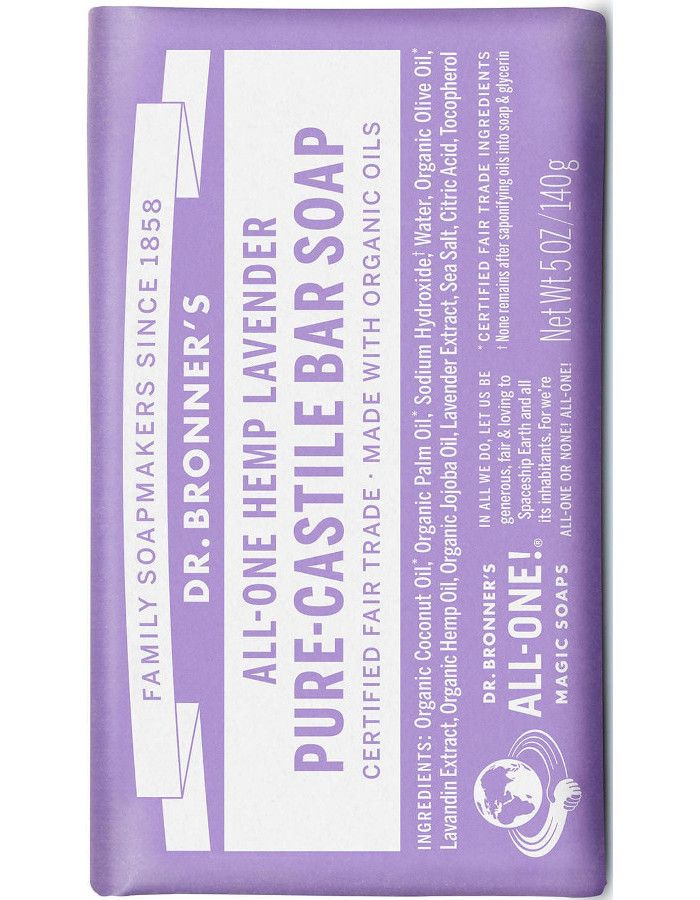 Dr Bronners All In One Magic Soap Hennep Lavendel 140gr