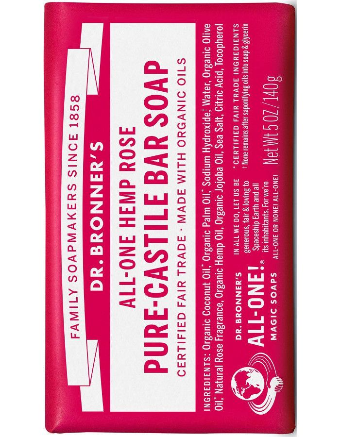 Dr Bronners All In One Magic Soap Hennep Rose 140gr
