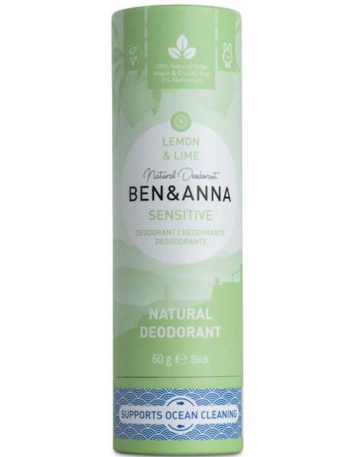 Ben & Anna Natuurlijke Deodorant Sensitive Lemon en Lime Recyclebare Verpakking 60gr